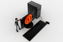 3d man standing aside pc with @ symbol on screen concept Royalty Free Stock Photos