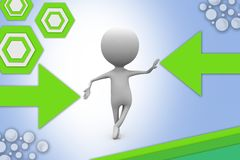 3d man standing balance illustration Royalty Free Stock Photography
