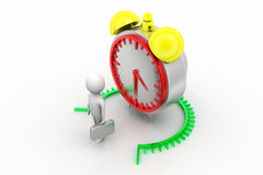 3d Man standing behind alarm clock Stock Photography