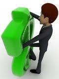 3d man standing behind big green dollar sign concept Stock Photos
