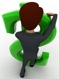 3d man standing behind big green dollar sign concept Royalty Free Stock Images