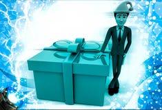 3d man standing with big gift box wearing santa cap illustration Royalty Free Stock Photos