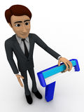 3d man standing with blue shaving razor concept Royalty Free Stock Photography