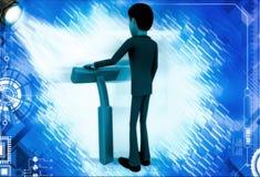 3d man standing with blue shaving razor illustration Royalty Free Stock Photos