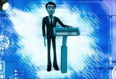3d man standing with blue shaving razor illustration Royalty Free Stock Image