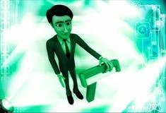 3d man standing with blue shaving razor illustration Stock Photos