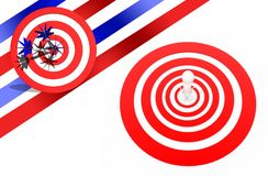 3d man standing in the centre on target / aim concept. Top angle view Stock Photo