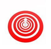 3d man standing in the centre on target / aim concept. Top angle view Stock Images