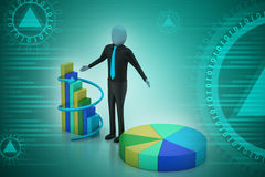3d man standing beside the colorful business graph Royalty Free Stock Photo