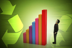 3d man standing beside the colorful business graph Stock Photos