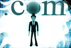 3d man standing with .com text illustration Royalty Free Stock Photography