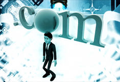 3d man standing with .com text illustration Royalty Free Stock Photos