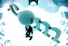 3d man standing with .com text illustration Royalty Free Stock Image