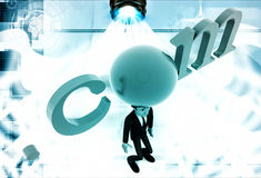 3d man standing with .com text illustration Stock Photography