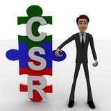 3d man standing with csr text in puzzle shape concept Stock Image