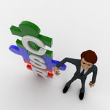 3d man standing with csr text in puzzle shape concept Royalty Free Stock Photography