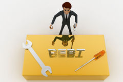 3d man standing with debt text and wrench concept Royalty Free Stock Photos
