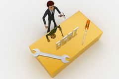 3d man standing with debt text and wrench concept Royalty Free Stock Photo