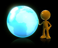 3d man standing with earth in black isolate. 3d man standing with glow earth in black isolate Stock Photos