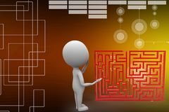 3d man standing in front of a maze illustration Stock Photo