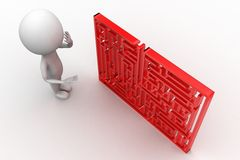 3d man standing in front of a maze Royalty Free Stock Images