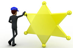 3d man standing with golden star and blue cap concept Stock Photo
