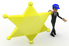 3d man standing with golden star and blue cap concept Stock Photos