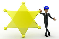 3d man standing with golden star and blue cap concept Stock Photography