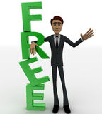 3d man standing beside green FREE text concept Stock Photo