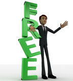 3d man standing beside green FREE text concept Stock Photography