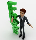 3d man standing beside green FREE text concept Royalty Free Stock Images