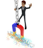3d man standing on hanging with chain on magnet attract UPLOAD text concept Royalty Free Stock Photos