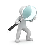 3d man standing and holding magnifying glass Stock Photo