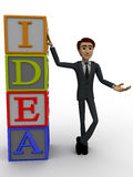 3d man standing with idea text in blocks concept Stock Images