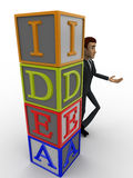 3d man standing with idea text in blocks concept Stock Photos