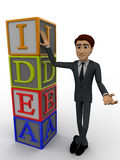 3d man standing with idea text in blocks concept Royalty Free Stock Photo