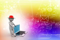 3d man standing with a laptop. In attractive color background Royalty Free Stock Photography