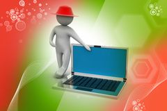 3d man standing with a laptop Stock Photography