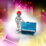 3d man standing with a laptop Royalty Free Stock Photos
