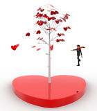 3d man standing by love tree concept Stock Images