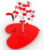 3d man standing by love tree concept Stock Photo