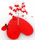 3d man standing by love tree concept Royalty Free Stock Photography