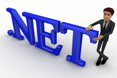 3d man standing with .net text concept Royalty Free Stock Image