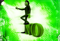 3d man standing with one leg on no text illustration Royalty Free Stock Photography