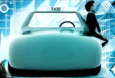 3d man standing outside orange taxi cab illustration Stock Photo