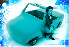 3d man standing outside orange taxi cab illustration Stock Photography