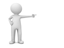 3d man standing and pointing finger at blank space. Isolated over white background. 3D rendering Stock Photo