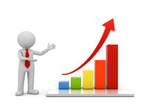 3d man standing and presenting growth business graph with red rising arrow concept. Over white background with reflection 3D rendering Stock Photos