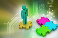 3d man standing on the puzzle piece Stock Image