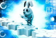 3d man standing on puzzles illustration Royalty Free Stock Photo